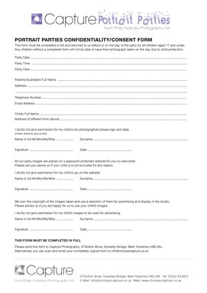 Parental Consent Form - Philip Fearnley Photography